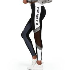081e876a3481e Letter Print Mesh Patchwork Women Skinny Yoga Sports Legging. Victoria  Secret ...