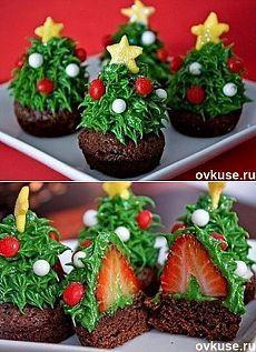 Кулинарная идея. Невероятно красивый новогодний десерт «Ёлочки с секретом»…