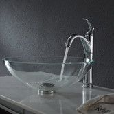 Found it at Wayfair - Crystal Clear Glass Vessel Sink with Pop Up Drain & Mounting Ring