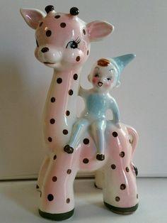 Vintage mid century Blue PIXIE pink polk-a-dot giraffe Planter