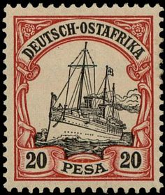 German East Africa 1901. Kaiseryacht SMY Hohenzollern. 20 Pesa