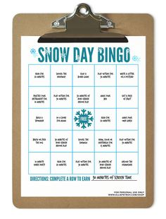 Snow Day Bingo Print