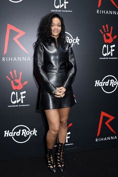 June 5, 2014: Rihanna was the epitome of a cool girl in a black leather two-piece ensemble by Azzedine Alaïa at the launch of The Clara Lionel Foundation in Paris. She continued the black trend with cutout leather booties and simple jewellery by Lynn Ban.