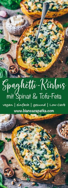 Spinach Stuffed Spaghetti Squash with Vegan Feta This easy vegan garlic spinach and tofu feta cheese stuffed Spaghetti Squash Boats recipe is the best healthy and delicious comfort food for fall! They're cheesy, creamy, dairy-free, gluten-free, low-carb! Garlic Spinach, Spinach And Feta, Garlic Cheese, Vegetable Recipes, Vegetarian Recipes, Healthy Recipes, Vegan Recipes Spinach, Gluten Free Vegan Recipes Dinner, Easy Delicious Recipes