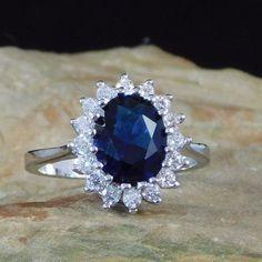 The Duchess ~ Blue Sapphire, White Sapphire & White Gold Engagement Ring
