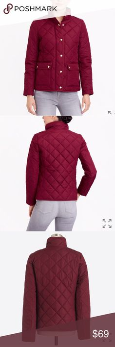 J. Crew Quilted Jacket Brand New with tags, beautiful wine color. Jacket hits above the hip, features a raised collar and snap closure. J. Crew Jackets & Coats