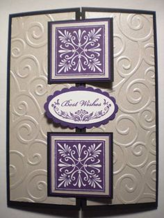 Poster: Stampin Erin Techniques: gate fold This is a wedding card I made. I wanted it to be simple, but elegant. And I like the way the embossing folder with shimmery silver paper looks. Stamps: Oval All; Mostly Flowers Paper: Basic Black, Elegant Eggplant, Brushed Silver, Whisper White Ink: Elegant Eggplant Accessories: Square punches, oval & scallop oval punch, Cuttlebug embossing folder