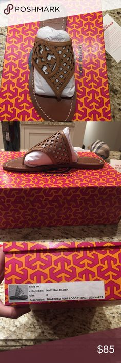 Tory Burch Thatched Perforated thong sandal Brand New in box. Tory Burch Shoes Sandals