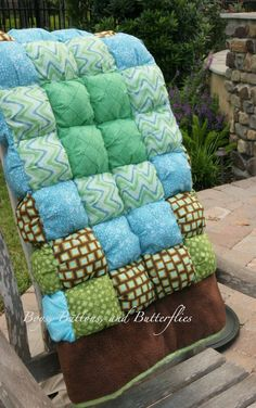 Buttons and Butterflies: Baby Boy Puffy Quilt