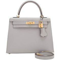 Pre-Owned Hermes Gris Mouette Epsom Sellier Kelly 25cm Gold Hardware ($22,225) ❤ liked on Polyvore featuring bags, handbags, grey, preowned handbags, grey leather purse, leather handbags, shoulder strap purses and gray leather purse