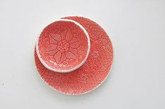 red lace ceramic saucer for christmas table or by ignataceramics
