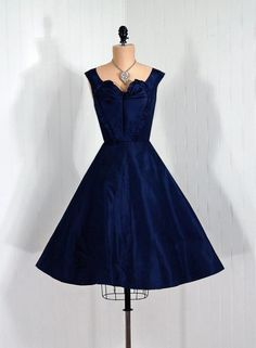 """Mignon-Paris/New York"" Early Designer-Couture Label  *Exquisite Navy-Blue Sculpted Evening Dress: 1950's, shimmer silk taffeta, appliqued novelty ruffle heart bodice."