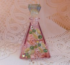 Vintage Watermelon Rose Jewelry Embellished Perfume Bottle