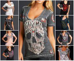 $58 Sinful V-neck Skull Cross T-shirt Biker Top Angel Wing Womens S M L XL #GraphicTee