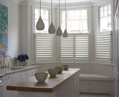 A House Like This: cafe style shutters from the New England Shutter Company LOVE these in the kitchen!