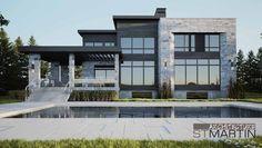 Flat stone + dark grey for sure Modern Contemporary Homes, Contemporary Architecture, Architecture Design, Modern Exterior, Exterior Design, Future House, My House, St Martin, Facade House