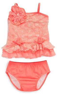 Such a cute little girls #coral sun-kissed bikini  http://rstyle.me/n/gc7fvr9te