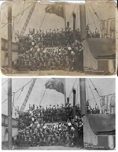 """Restored postcard image of Royal Navy cadets aboard a training ship in Portsmouth Titled """"Three cheers for the Prince of Wales"""" Photo Repair, Prince Of Wales, Royal Navy, Portsmouth, Old Photos, Cheers, Restoration, Training, Ship"""