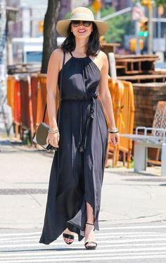 Olivia Munn's Navy Maxi Dress
