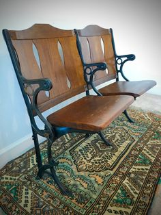 SOLD  RARE Antique Opera House Theatre Seats  Set by StaciWDesigns