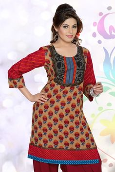 New arrival gorgeous, wonderful, and awesome fallow & red color floral dhabu printed party wear kurti to make any women look sweet, lovely and sexy.