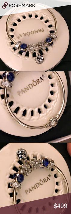 NIB.  Pandora Bangle bracelet preset in blue theme NIB.  Pandora Bangle bracelet preset in blue theme. Charms can be sold separately. Pandora Jewelry Bracelets
