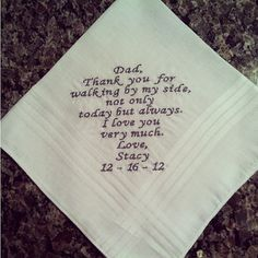 Father of the Bride Wedding Handkerchief by EmbroiderybyMelissa, $22.00