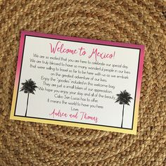 Destination Wedding Welcome Letter/Welcome Note with Palm Tree