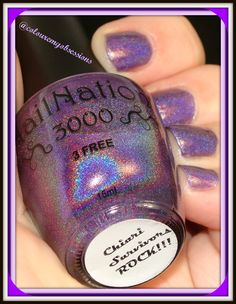 This is a polish made to help raise awareness of Chiari Surviors http://colouremyobsessions.blogspot.in/2014/10/chiari-survivors-rock-by-nailnation3000.html #colouremyobsessions #hpbloggers   #Obsessionista's #indies  #nailporn #bblogger #beautybloggers #beautyproducts #fashion #nails #swatches #beautyporn #holo #shifter #shifting #purple #Rainbowholo #color #coloure #nailnation3000 #nn3 #Nailnation3000 #nn3  lightbox