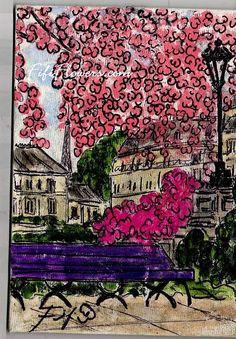 Purple Bench Pink Flowers in #Paris by Fifi Flowers
