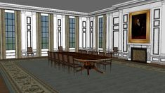 The White House interior : The State Dining Room - Warehouse White House Interior, Sketchup Model, 3d Warehouse, Art Work, 2d, Dining Room, Photoshop, Windows, Urban