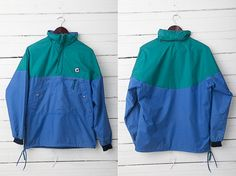 1980's Vintage Blue and Green Windbreaker Jacket / by CoverVintage, $35.00