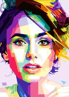 Lily Collins Popart poster by from collection. Abstract Face Art, Abstract Portrait, Portrait Art, Pop Art Posters, Poster Prints, Polygon Art, Atelier D Art, Pop Art Portraits, Illustration Art