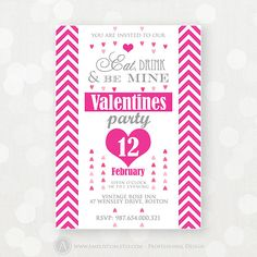 """Printable Valentines Party Invitations Flyers pink by AmeliyCom, $10.00 ---------- EDITABLE PDF file ! ---------- Now you can by yourself edit the invitation! Just open the file in Adobe Reader and click on the purple """"Highlight Fields"""" button.  Areas that you can type in will be highlighted!"""