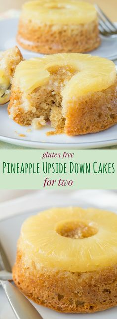 Gluten Free Pineapple Upside Down Cake for Two - an easy recipe to make a pair of little, healthier cakes to share! Sponsored by @dolesunshine