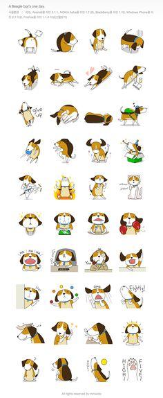 LINE Sticker 'beagle boy' / 2014 http://line.me/S/sticker/1028724