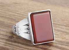 925K Sterling Silver Gemstone Man Ring With Natural Agate Stone (All Sizes) #istanbul_jewelry #Statement