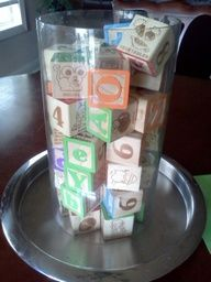 Love the idea of using vintage blocks as part of baby shower decorations. Wonder if my parents still have these?
