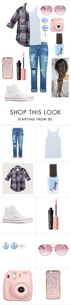 """""""Back to school"""" by ebellows18 ❤ liked on Polyvore featuring 7 For All Mankind, Juvia, Abercrombie & Fitch, Converse, Benefit, Minnie Rose and Fujifilm"""