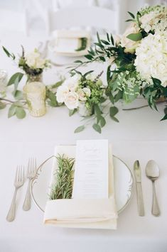 Ivory and sage green wedding. Rosemary napkins and farm dinner menu. Wedding flowers. Photography by Kina Wicks.