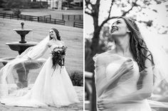 Black and white wedding photography in San Diego. Bride is wearing her long hair down with a simple long braid. The bride is wrapping herself in her long veil and displaying her stunning curled bridal hair. Stunning bridal pictures. Cavin Elizabeth Photography