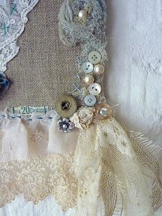 ❧♡° vintage fabric lace buttons
