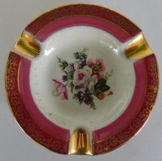 Vintage Porcelain Limoges BEAUTIFUL FLOWERS Ashtray France