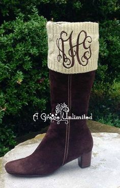 Monogrammed cable knit boot cuffs oatmeal by agraceunlimited