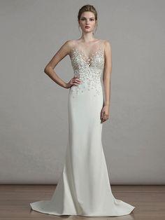 832efc538cb Crepe Column Wedding Dress with Beaded Embellishments