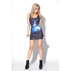 Galaxy Blue Dress ($99) ❤ liked on Polyvore featuring dresses, galaxy, galaxy print dresses, blue galaxy dress, galactic dress, space print dress and nebula dress
