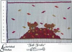 Teddy bears frolicking in a pile of leaves.  A wonderful smocking design plate by Cherished Stitches, available at www.chadwickheirlooms.com
