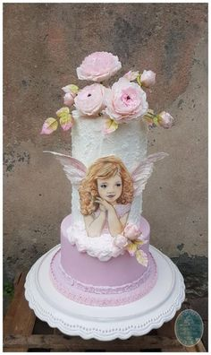 Little Angel Frieda by Heike Darmstädter Pretty Cakes, Cute Cakes, Beautiful Cakes, Torta Angel, Angel Cake, Big Cakes, Fancy Cakes, Christening Cake Girls, Cake Designs For Kids