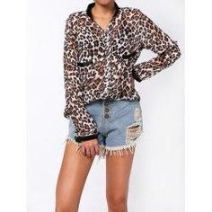 trendsgal.com - Trendsgal Leopard Print Single Breasted Shirt - AdoreWe.com