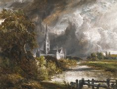 John Constable - Salisbury Cathedral from the Meadows  Sotheby's, New York - Oil on canvas, 45.7 x 61 cm